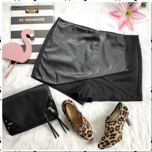 Topshop Black Faux Wrap Leather Skort Shorts 12